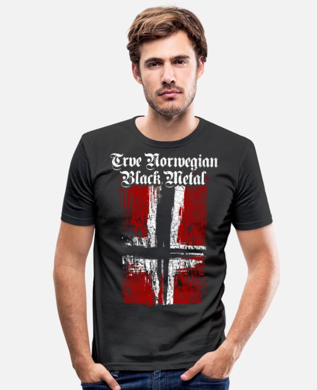 Noors T-shirts - Trve / True Norwegian Black Metal - Mannen slim fit T-shirt zwart