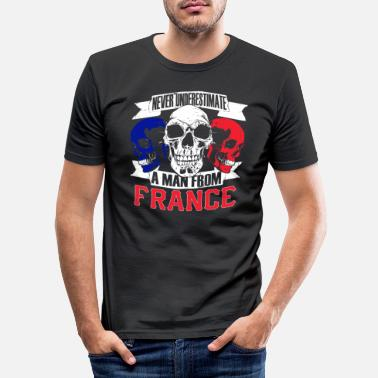 Patriotique T-shirt France Skull Paris France Cadeau - T-shirt moulant Homme