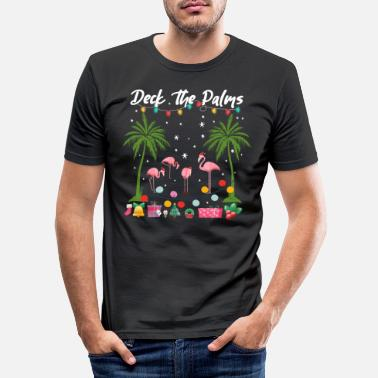 Siden Juledæk The Palms Pink Flamingos Holiday - Slim fit T-shirt mænd