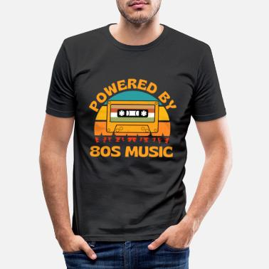 Power Powered By 80s Music Retro Cassette - Men's Slim Fit T-Shirt