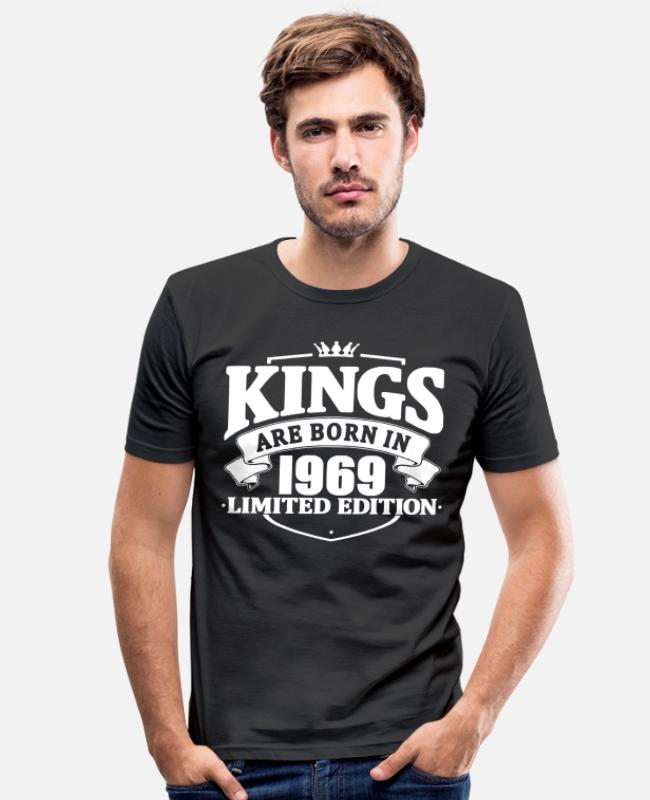 Legend T-Shirts - Kings are born in 1969 - Men's Slim Fit T-Shirt black