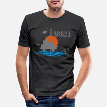 Oil Brent Charlie Oil Rig Platform North Sea Aberdeen - Men's Slim Fit T-Shirt