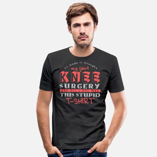 Knee T-Shirts - My First Knee Surgery - Men's Slim Fit T-Shirt black