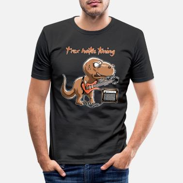 Spreadmusic2015 spreadmusic2015 T-Rex Hates Tuning - guitar rock - Men's Slim Fit T-Shirt