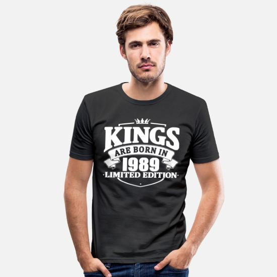Birthday T-Shirts - Kings are born in 1989 - Men's Slim Fit T-Shirt black