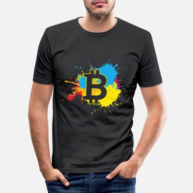 Explosion Bitcoin WatercolorBTC Crypto Moon - Men's Slim Fit T-Shirt