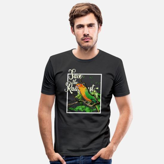 Flowers T-Shirts - Rainforest Earth Day Nature Conservation Nature Animals - Men's Slim Fit T-Shirt black