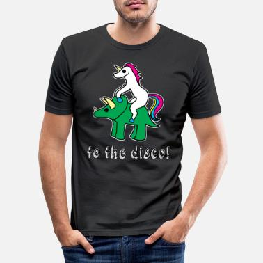 Teenager Love Horny Unicorn Triceratops Disco Funny Gift - Maglietta slim fit uomo
