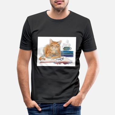 Coffee I Read Books I Drink Coffee Funny Cat Lover - Men's Slim Fit T-Shirt