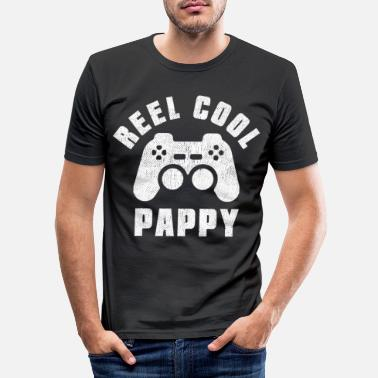 Online Gamer Papa Spruch Reel Cool Pappy - Männer Slim Fit T-Shirt