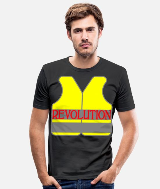 Protests T-Shirts - Yellow West Revolution Resistance Demo - Men's Slim Fit T-Shirt black
