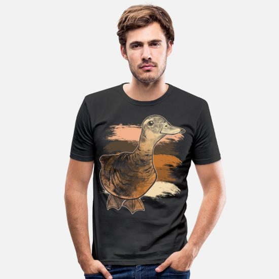 Pond T-Shirts - cute duck migratory bird beak gift idea - Men's Slim Fit T-Shirt black