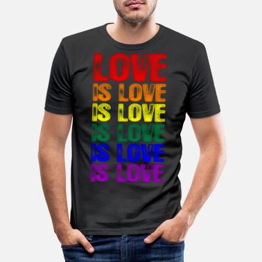 Pride Love Is Love LGBTQ Love is Love is Love - Men's Slim Fit T-Shirt