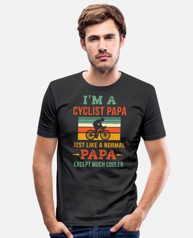 Vintage Cyclist Dad Dad Cycling T-shirts - Vintage Cyclist Papa Shirt - Dad Cycling Shirt - D - Mannen slim fit T-shirt zwart