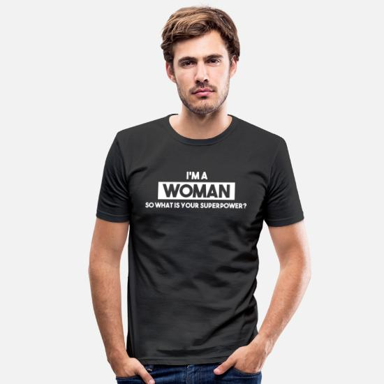 Emancipation T-Shirts - Power Woman, Superwoman, feminism, power woman - Men's Slim Fit T-Shirt black