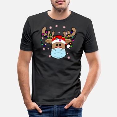 Rudolph Rudolph with mask Merry Quarantine 2020 Reentier - Men's Slim Fit T-Shirt