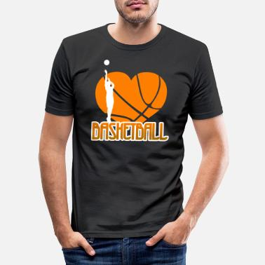 Hjärta Jag älskar Basketball Ball Heart Mens Womens Kids - T-shirt slim fit herr