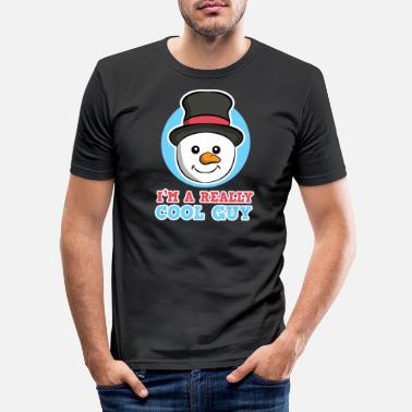 Really Cool Winter Snowman Really Cool Guy Men heren - Mannen slim fit T-shirt