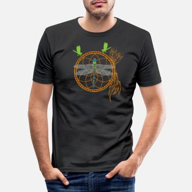Alchemy Insect dream catcher with dragonfly animal yoga chakra - Men's Slim Fit T-Shirt