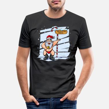 Long Underwear Sweet Santa Claus North Pole Christmas Xmas - Men's Slim Fit T-Shirt
