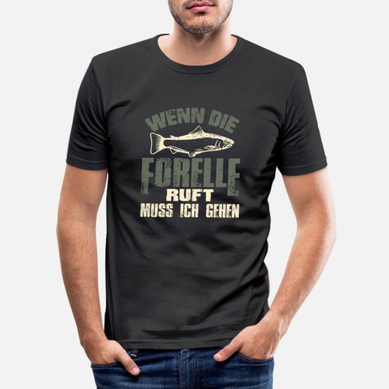 Bekleidung Angeln Fischen Motiv Angelsport : Wenn der Fisch Ruft muss ich gehen Angler Tshirt Spruch