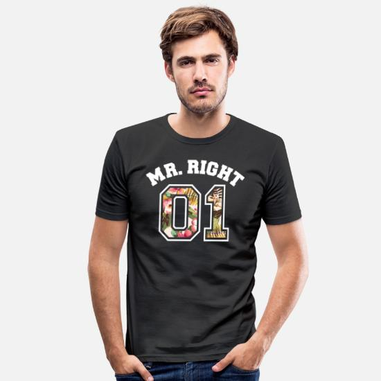 Monsieur T-shirts - Mr Right 01 - T-shirt moulant Homme noir