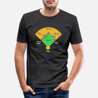 First Who's on First? Baseball Diamond Fielding Card - Men's Slim Fit T-Shirt