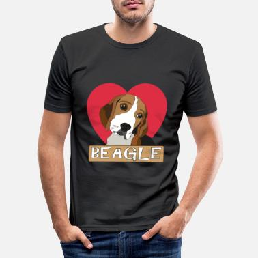 Beagle with a heart - Men's Slim Fit T-Shirt