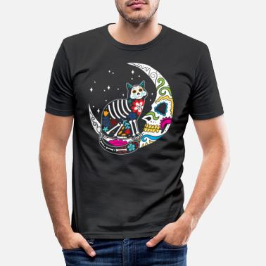 Moon Sugar Skull Cat And Moon Day of The Dead Cat Mom - Men's Slim Fit T-Shirt