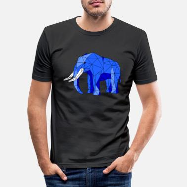 Elfenbein Lav Poly African Elephant Blue Line Art - Slim fit T-skjorte for menn