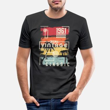 Old School 1961 Grafik. Vintage födelsedagspresent, Retro, palm - T-shirt slim fit herr