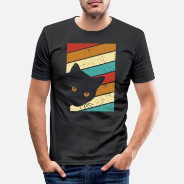 Old School Graphique de chat. Conception de style rétro - T-shirt moulant Homme