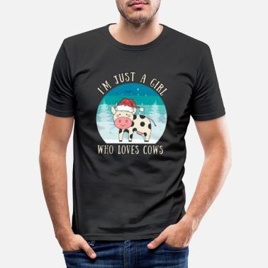 Sweet Cow Girl Who Loves Cows | Cow gift farmer saying - Men's Slim Fit T-Shirt