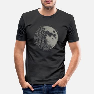 Geometry Sacred Geometry Moon Flower of Life Psychedelic - Men's Slim Fit T-Shirt