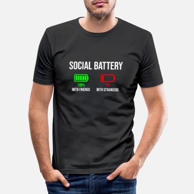 Strange Socialt batteri T-shirt Stranger version - T-shirt slim fit herr