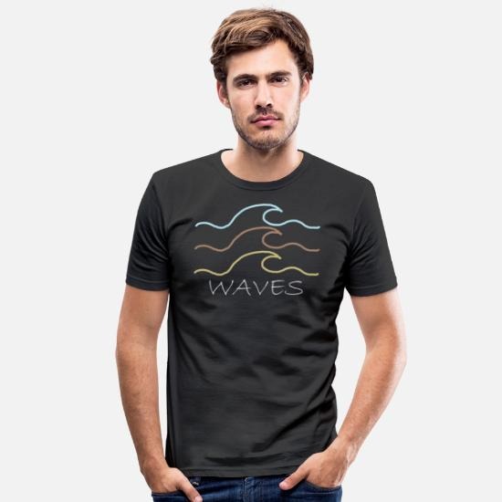 Vague T-shirts - J'aime la mer! - T-shirt moulant Homme noir