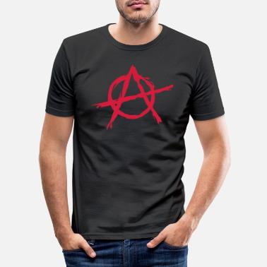 Symbool Anarchy symbol chaos rebel revolution punk fighter - Mannen slim fit T-shirt
