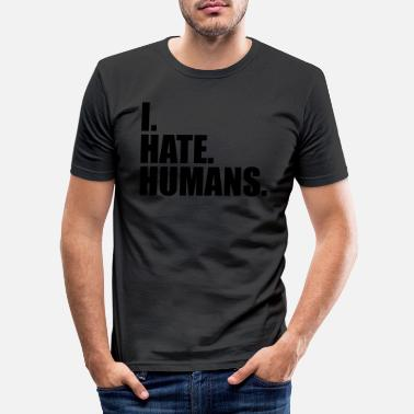Fuck Christian cool logo humans text sticker fuck you fuck off - Men's Slim Fit T-Shirt