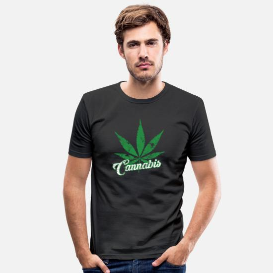 Hemp T-Shirts - Cannabis stoner hemp leaf gift - Men's Slim Fit T-Shirt black