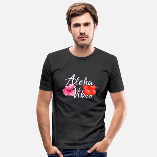 Ferie T-shirts - aloha vibes - Slim fit T-shirt mænd sort