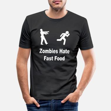 Funny Zombie hate fast food - Men's Slim Fit T-Shirt