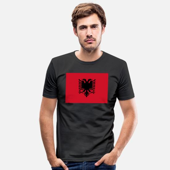 Country T-shirts - Albanien flag - Slim fit T-shirt mænd sort