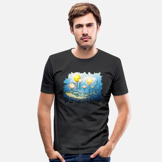 Aquarium T-Shirts - Whale, flying whale - Men's Slim Fit T-Shirt black