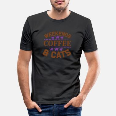 Coffee Funny coffee cats motif saying gift idea - Men's Slim Fit T-Shirt
