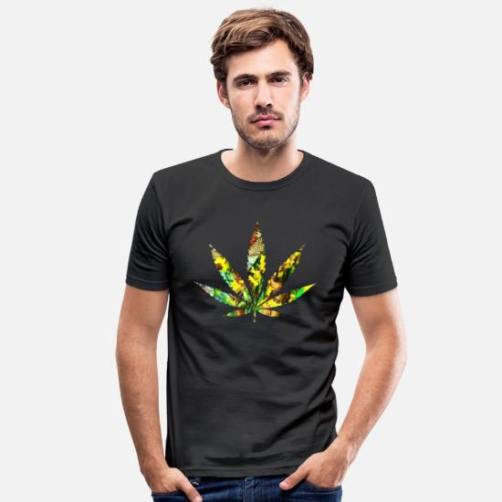 Cannabis T-shirts - blad - Slim fit T-shirt mænd sort