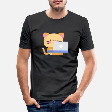Ordinateur chat mignon sur l'ordinateur portable - T-shirt moulant Homme