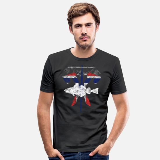 Travel T-Shirts - Wikstroem - Norway fish weapons mountains used look - Men's Slim Fit T-Shirt black