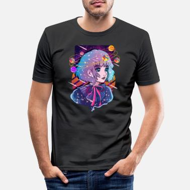 Emo Anime Solar System Dizzy Planets - Men's Slim Fit T-Shirt