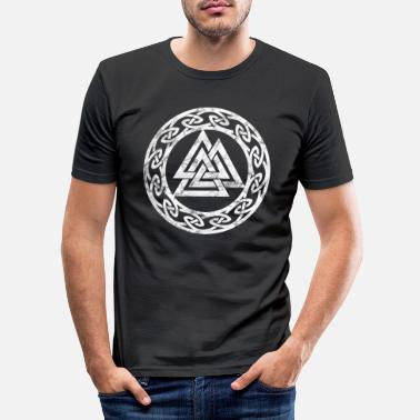 Pagan Vintage Valknut Odin symbol viking sign Pagan - Men's Slim Fit T-Shirt