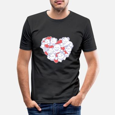 Steal Valentine's Day Polar Bear Hearts Emoji Pet Animal - Men's Slim Fit T-Shirt